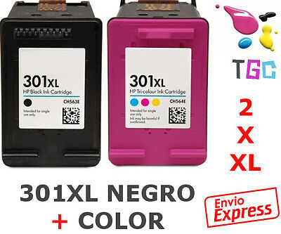 2x Cartuchos Compatible 301 XL Color+Negro CH563EE CH564EE DESKJET 1000 1050
