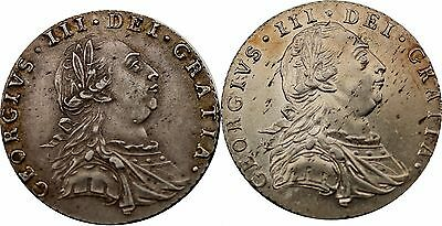 1787 George III Silver Sixpence Coin one with Hearts and one without [2] total
