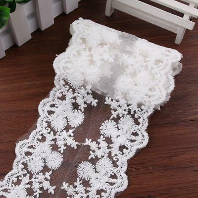 2Yard White Embroidered Lace Fabric Ribbon Trim Ribbon Mesh Appliques Sewing