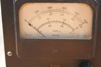 Quality Vintage Dwell Meter Old Mechanics Tool RPM 6cyl 8cyl Bakelite Dial RPM