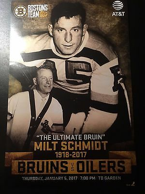 2017 BOSTON BRUINS NHL Program Line-Up MILT SCHMIDT RIP 1918-2017 Poster Tribute