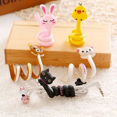2X Cute Animal Headset Earphone Winder Cable Wire Wrapper Cord Holder Organizer