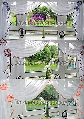 (F6) Beautiful White Voile Net Curtain with Various Colours Piping.