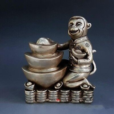 "7"" Chines Folk Silver Wealth 12 Zodiac Year Animal Monkey Hold Yuanbao Statue"