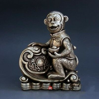 China Lucky Pure Silver Fengshui Wealth Yuanbao Money Coin Ruyi Monkey Statue