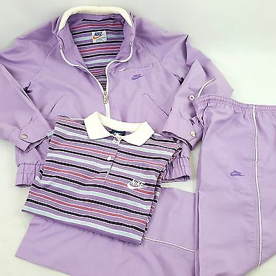 Vtg 80s NIKE 3 Piece Track Suit Pastel Purple Striped Polo Shirt Women Sz S USA