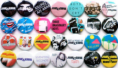 The Cure 1978-1983 Badge Set - 28 Quality Pin / Button Badges (Robert Smith)