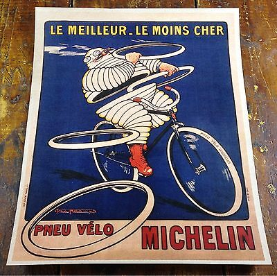 French Michelin Tire Man Riding Bicycle Advertising Tires Paper Poster Sign