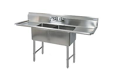 """BK Resources Two 24""""x24""""x14"""" Compartment Sink S/s Leg 24"""" Drainboard L&R"""