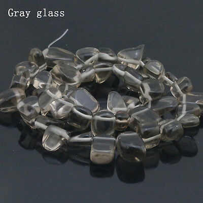 Wholesale!Irregular Crystal Gray Glass Jewelry Making Loose Beads Strand 15""