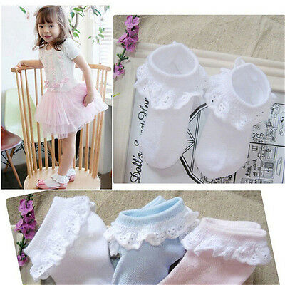 New Kids Toddlers Girls Solid Colors Cotton Pierced Lace Durable Baby Socks liau