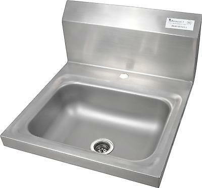 "BK Resources BKHS-D-1410-1 Stainless Deck Mount Hand Sink 14"" x 10"" Drain NSF"