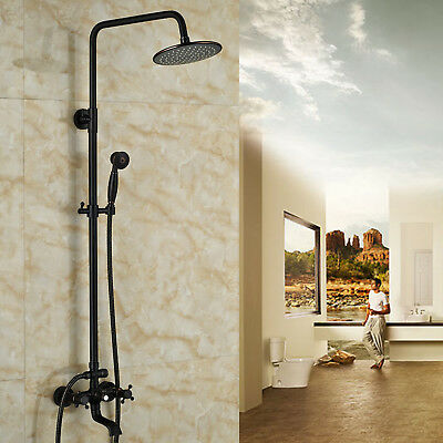 """Wall Mount Oil Rubbed Bronze 8"""" Swivel  Shower Head Faucet Tub Mixer Tap"""