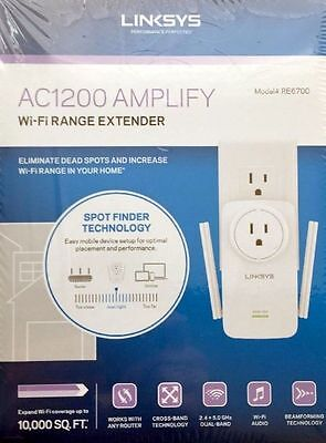 NEW & SEALED Linksys AC1200 Amplify Dual Band Wi-Fi Range Extender RE6700