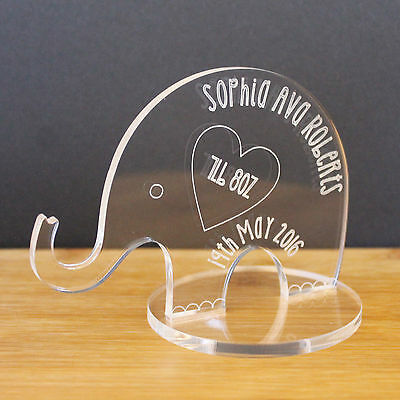 Personalised Engraved Birthday Elephant Keepsake Anniversary mothers day Gift