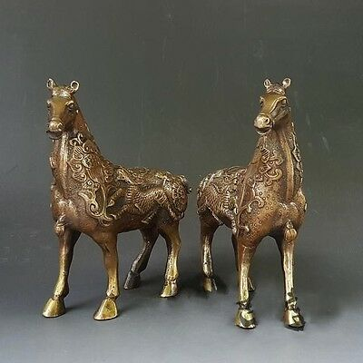 China Brass Carving Of A Pair Of Horse Statue To Ward Off Bad Luck Collection
