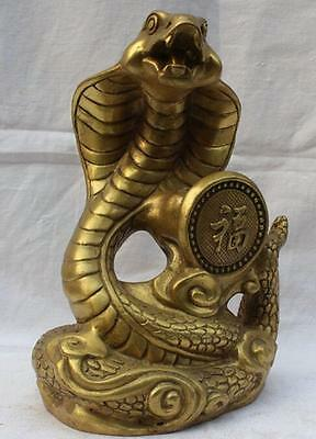 Chinese Pure Brass Folk Fengshui Fu Rich Wealth Zodiac Year Snake Statue Antique