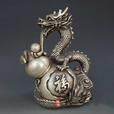 Marked Chinese Pure Silver Statue - Dragon & Gourd Ming Dynasty Xuan De Antique