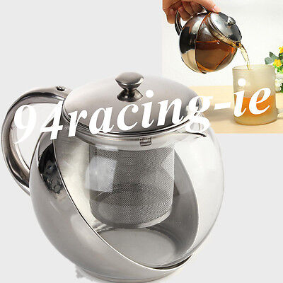 Stainless Steel Teapot Coffee Pot With Loose Tea Leaf Infuser Strainer 900ML