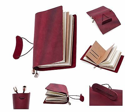 Vintage Leather Bound Journal Diary Notebook Handmade Travel Sketchbook Gift Red