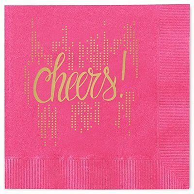 Cocktail Napkins Bubbly Cheers Beverage Cocktail Napkins - Set of 25 magenta