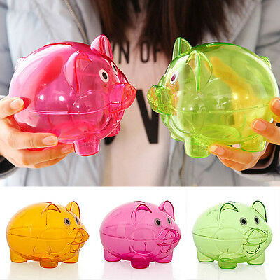 Clear PIGGY Bank Coin Money Plastic Cash Openable Saving Box Kid Pig Toy Gift