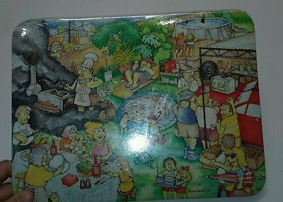 Vintage 1986 Michael Salmon Aussie BBQ Barbecue placemat set 1980's Old Retro