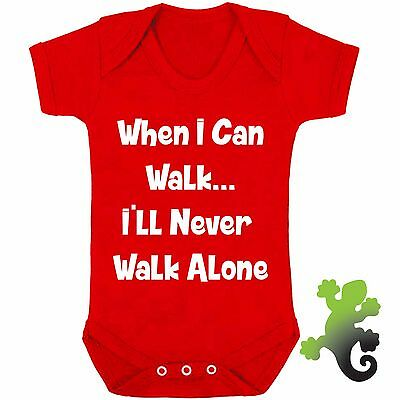 I'll Never Walk Alone Babygrow - Red Funny New Baby Football Vest Liverpool Gift