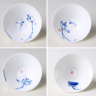 4pcs Hand-painted Chinese Jingdezhen Blue and white porcelain tea cup 45ml lotus