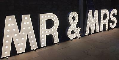 Light Up MR&MRS  Illuminated Letters Wedding Party Event HIRE ONLY Mr and Mrs