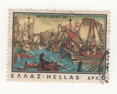 """1969 GREECE  NAVY WEEK - 6d """"The Battle of Salamis"""" stamp - SHIPS - SG#1116 Used"""