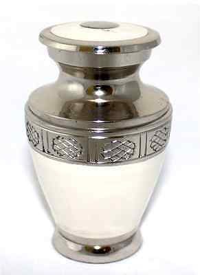 Mini Keepsake Ashes Urn, Small Cremation Funeral Memorial Urn, White and Silver