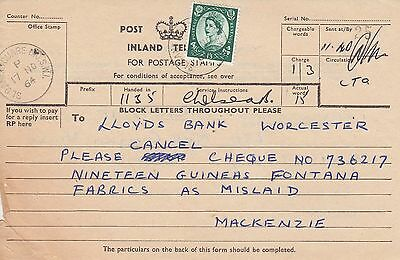 K 877 Sloane Square London 1964 telegram with 1/3d Wildings stamp solo usage