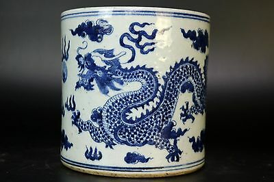 Fine Beautiful Chinese Blue and White Porcelain Dragon Brush Pot