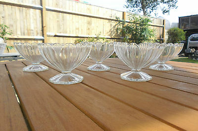 Vintage  Molded Glass Sweetmeat Sundae Dishes Champagne Coupes Set Of 5