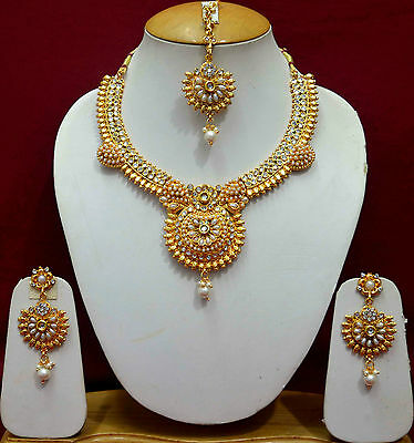Indian Wedding Gold Choker Costume Jewellery Pearl Necklace Earrings Sets f45n54