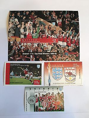 Football Stamps Mnh Arsenal Sheffield Wednesday 1992-3 Fa Cup Final 01