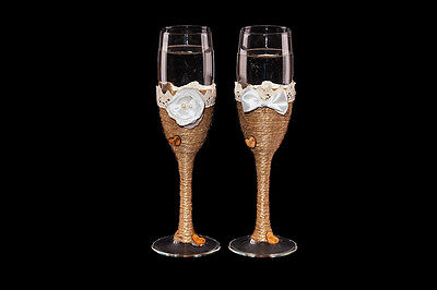 Wedding Toasting Champagne Glasses Rustic Vintage Flutes Country Art Deco Gift