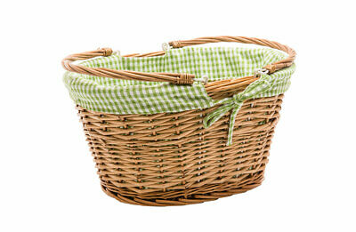 Bike Basket Oval Liner Green Pink Blue Red Check Floral Retro Vintage Cycling