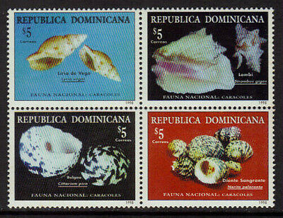 Dominican Rep 1300 Mint Never Hinged Block - Shells