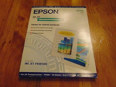 Epson Ink Jet Transparencies 30 Ct. Sealed Letter Size 8.8 X 11 NEW FREE SHIP