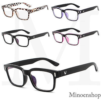 Unisex Rectangle Frame Clear Lens Glasses VTG Black Classic 50s Eyeglasses Geek