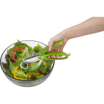 Trudeau Toss and Chop Salad Tongs Vegetable Fruit Cutter Slicer  Food Choppers