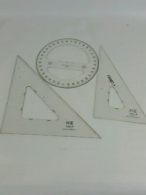 Keuffel & Esser K&E Drafting Triangles Full Circle Protractor Luxylite Rulers