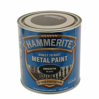 Hammerite  2.5l Litre Smooth Black direct to rust Metal Paint 2.5L