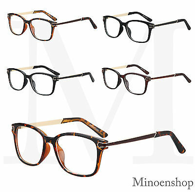 Designer Unisex Clear Lens Glasses VTG Classic 70's Rectangle Frame Metal Temple