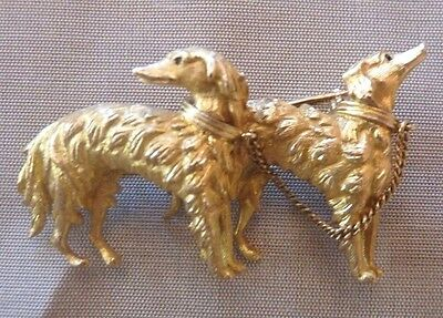 Spilla Vintage '50 - Solid Gold 18K Greyhounds Brooch High Italian Jewellery