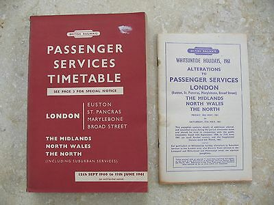 British Railways London Midland Region Passenger Timetable Sep 1960 Alts and Map