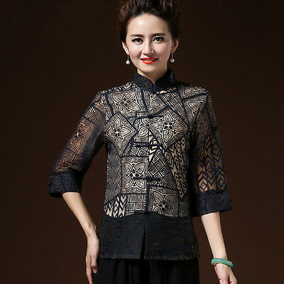 Women New Arrival Blouses 3/4 Sleeve Chinese Tradition Shirt Blouse Tops M-3XL
