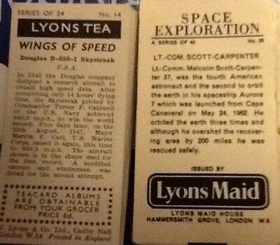 Lyons Tea Cards Space Exploration And Wings Of Speed